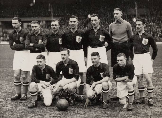 Het Nederlands elftal voor de interland tegen België.